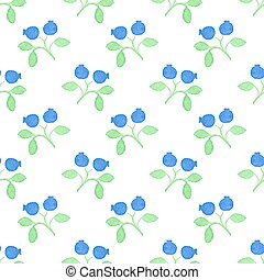 Seamless watercolor pattern with blueberries on the white background, aquarelle.  Vector illustration.