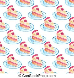 Watercolor seamless pattern with piece of cake on the white background, aquarelle. Vector illustration.