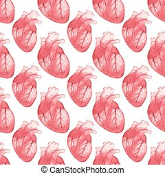 Watercolor seamless pattern with realistic human heart on...