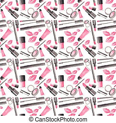 Seamless watercolor pattern with beauty items on the white background, aquarelle.  Vector illustration.