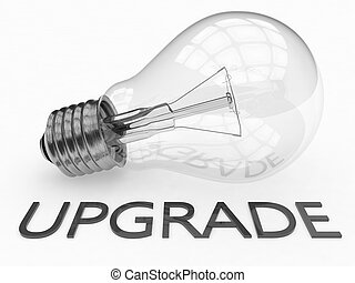 Upgrade - lightbulb on white background with text under it....