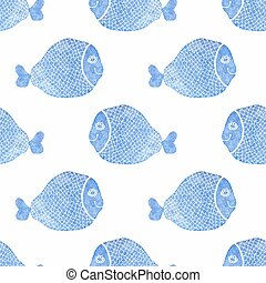 Watercolor seamless pattern with fish on the white background, aquarelle. Vector illustration.