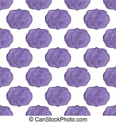 Watercolor seamless pattern with vicrorian frames on the white background, aquarelle.  Vector illustration.