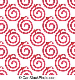 Watercolor seamless pattern with fire hose on the white...