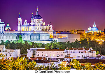 Almudena Cathedral - Madrid, Spain skyline at Santa Maria la...