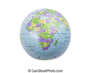 Inflatable globe isolated - Inflated plastic earth toy...