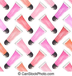 Seamless watercolor pattern with beauty items on the white...