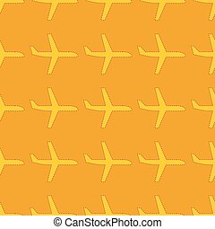 Seamless pattern with flat styled plane silhouettes