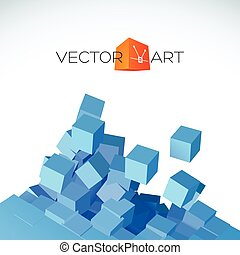 Vector 3D explosion background with cubical particles -...