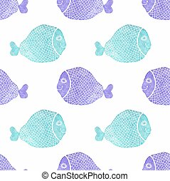 Watercolor seamless pattern with fish on the white...