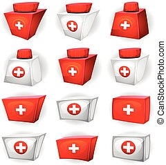 Medicine Box Icons For Ui Game - Illustration of a cartoon...