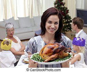mujer, actuación, navidad, pavo, familia, cena