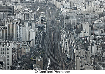 Gare Montparnasse - Aerial view of railway system at Gare...