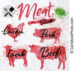 Set meat silhouettes - Set of meat symbols, beef, pork,...