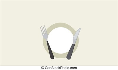 Green food concept animation - dish with cutlery and leaves,...