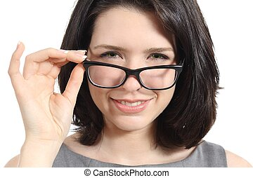 Close up of a pretty woman wearing glasses isolated on a...