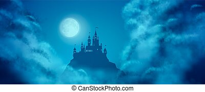 Fantasy Vector Castle Moonlight Sky - Fantasy vector castle...