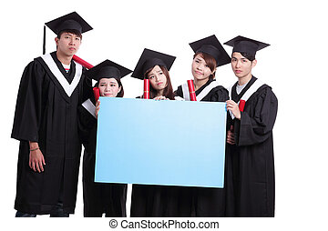 group of graduates student think their future and show blank...