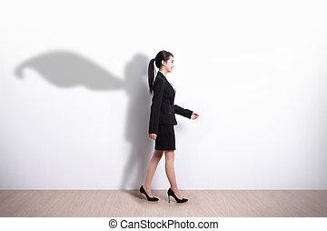 Superhero business woman walking - Successful Superhero...