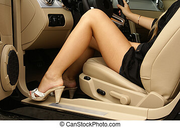 Sexy legs in the car