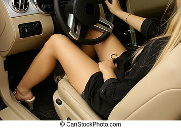 Sexy legs in a car - Sexy legs in a luxury car