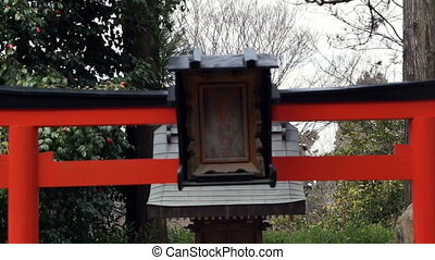 girl praying at Japanese shrine - Buddhist girl praying at...