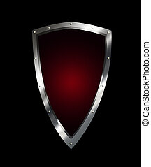 Silver red shield on black background.
