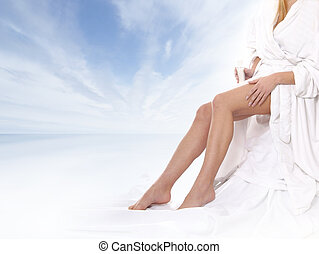 Sexy Legs - Sexy legs of young beautiful woman over natural...