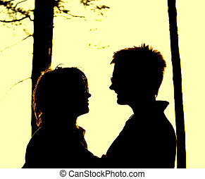 Trace of couple in love isolated on yellow