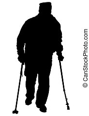 Elderly man - Two elderly people with cane one white...