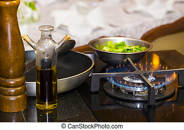 table gas stove frying pan kitchen tools