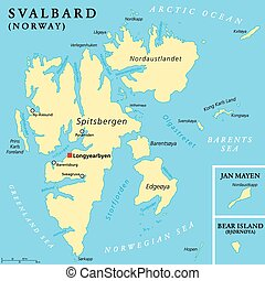 Svalbard Political Map with capital Longyearbyen, a...