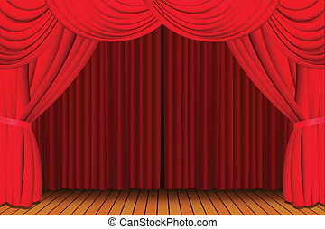 Stage with closed red curtain - Stage with a closed red...
