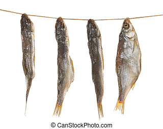 salted fish on a rope - four delicious salted dried fish...