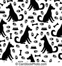 Dog and footprints pattern seamless