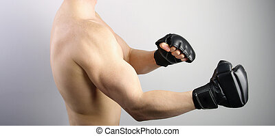 Ultimate fight Fighter with boxing gloves