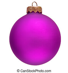 purple christmas ornament Isolated over white
