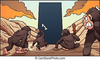Monkeys and monolith - A group of hominids attacking a dark...