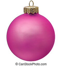 purple  christmas ornament . Isolated over white.