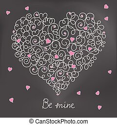 Greeting card with floral heart shape. Be mine sign. eps10
