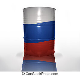 barrel with russian flag