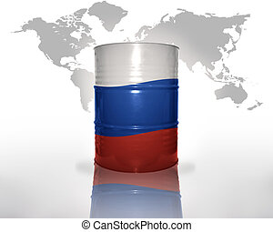 barrel with russian flag on the world map background