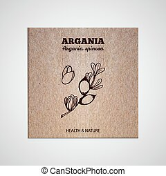 Herbs and Spices Collection - Argania. Hand-sketched herbal...