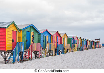 Multi-colored beach huts at Muizenberg in Cape Town, Western...