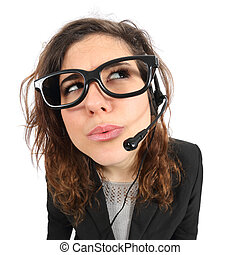 Funny telephone operator agent thinking and looking sideways...