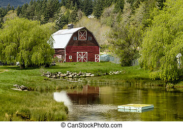Brinnon Washington Barn by Pond - Little red barn reflecting...