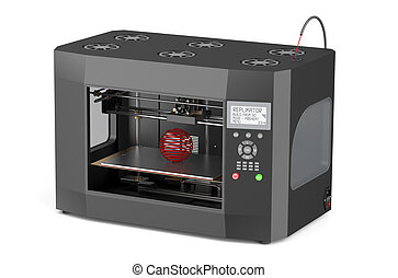 3d printer  isolated on white background
