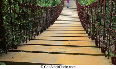hiking woman walking one bridge - hiking woman walking on...