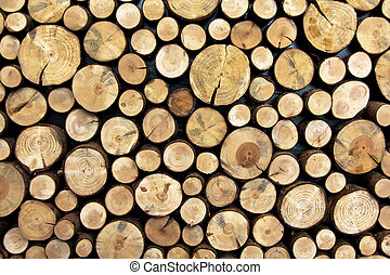 Wooden Logs - Background made of cut and stacked trunks of...