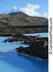 Milky white and blue water of the geothermal bath Blue Lagoon in